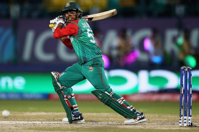 Soumya Sarkar in action against Oman.