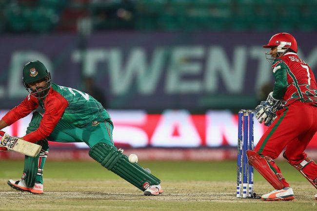 Tamim Iqbal in plays a shot.