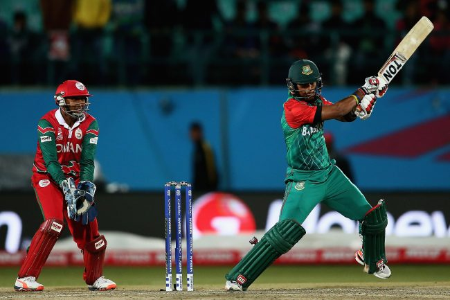 Sabbir Rahman plays a shot against Oman.