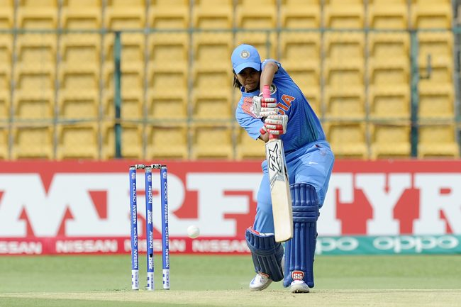 Vellaswamy Vanitha plays a shot against Bangladesh in India's first game.