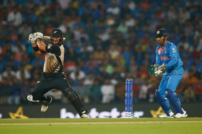Corey Anderson plays a shot against India.