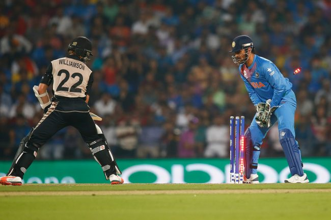 Kane Williamson is stumped by MS Dhoni.
