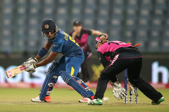 Chamari Atapattu is bowled by Leigh Kasperek.