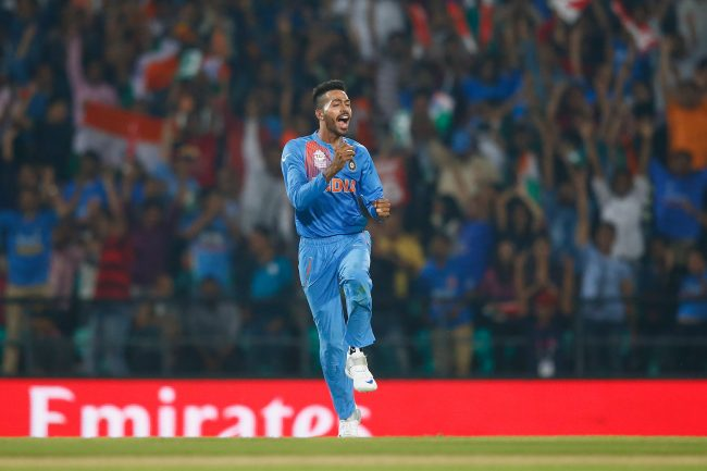 Hardik Pandya celebrates after a catch.