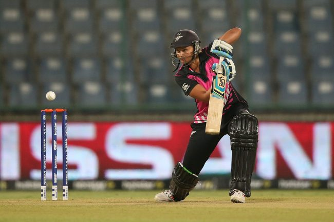 DELHI, INDIA - MARCH 15:  Suzie Bates, Captain of New Zealand bats during the Women's ICC World Twenty20 India 2016 match between New Zealand and Sri Lanka at Feroz Shah Kotla Ground on March 15, 2016 in Delhi, India.  (Photo by Jan Kruger-IDI/IDI via Getty Images)