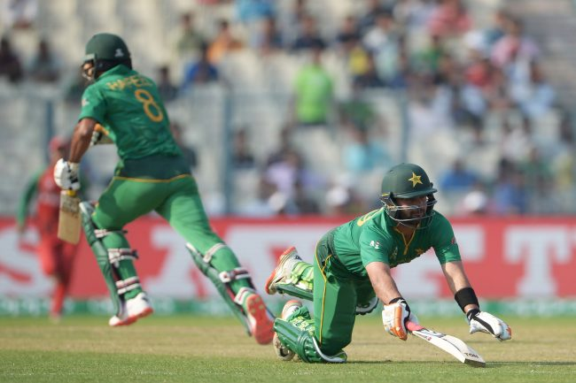 Mohammad Hafeez and Ahmed Shehzad in action against Bangladesh.