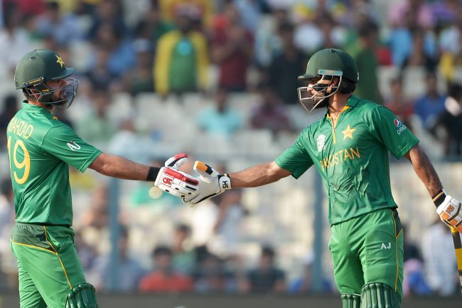 Ahmed Shehzad and Mohammad Hafeez during their partnership