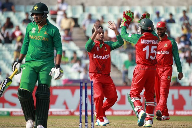 Bangladesh celebrates the wicket of Sharjeel Khan