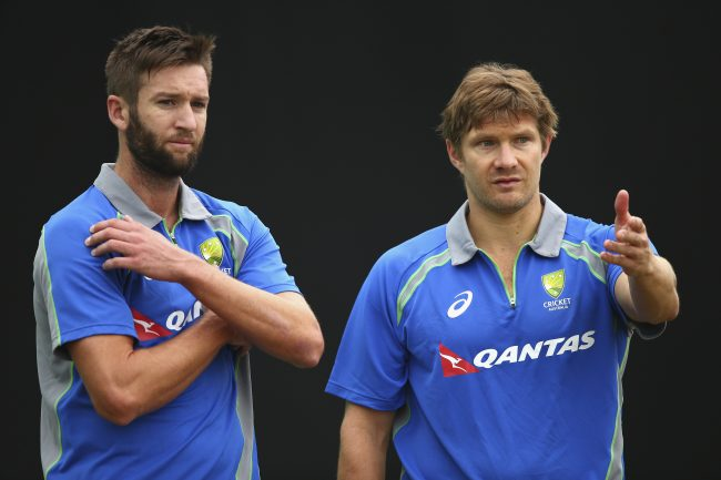 Andrew Tye and Shane Watson at the training session.
