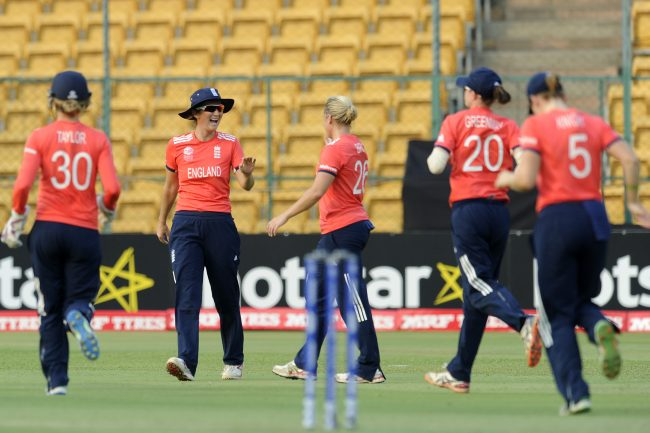 Bangalore, INDIA - MARCH 17 : Charlotte Edwards, Captain of England celebrates the wicket of Ayasha Rahman of Bangladesh during the Women's ICC World Twenty20 India 2016 match between England and Bangladesh at the Chinnaswamy stadium on March 17, 2016 in Bangalore, India. (Photo by Pal Pillai/IDI via Getty Images)
