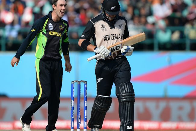 Glenn Maxwell celebrates after taking wickets.
