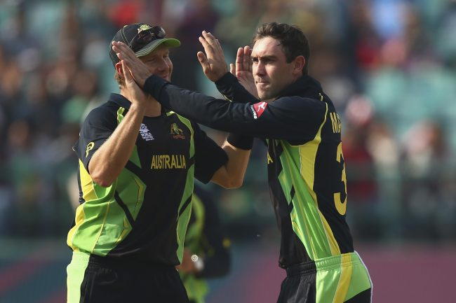Glenn Maxwell celebrate after taking wicket.