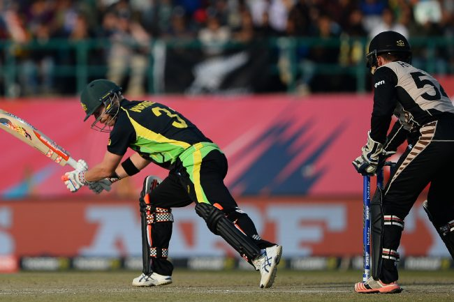David Warner in action during match.