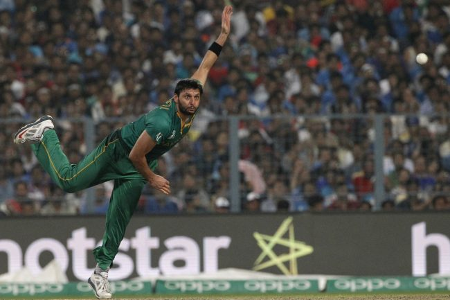 Shahid Afridi in action against Pakistan.