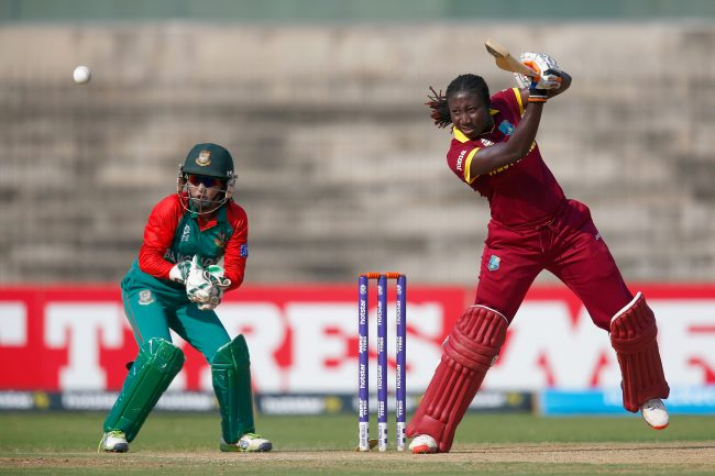 CHENNAI, INDIA - MARCH 20:  Stafanie Taylor, Captain of the West Indies in action with Nigar Sultana of Bangladesh during the Women's ICC World Twenty20 India 2016 Group B match between West Indies and Bangladesh at the Chidambaram Stadium on March 20, 2016 in Chennai, India.  (Photo by Christopher Lee-IDI/IDI via Getty Images)