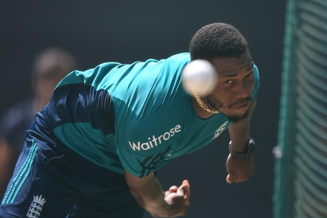 The power and poise of an international bowler. England's Chris Jordan shows intent as he hurls down a 140+kilometer and hour bullet during nets training ahead of the semi-final clash against New Zealand in New Delhi.