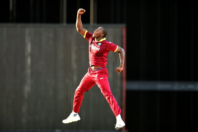 Carlos Brathwaite leaps in the air after dismissing Aaron Finch